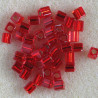 MS014 - Miyuki 4 x 4 mm Cube, Silver Lined, Red, 10g Packs.