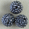 Large, Shamballa style 20mm beads, dark silver.