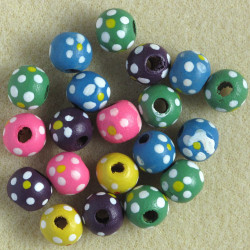 Mixed coloured, wooden beads. 20 per pack.