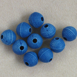 Denim blue plastic, ridged beads, large holed. Pack of 10.