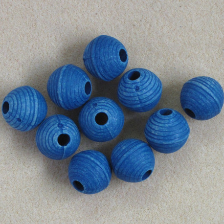 SALE88 - Blue Plastic, Ridged Beads, Slight Seconds. Pack of 10.