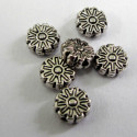Antique silver colour flower bead. Pack of 10