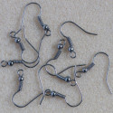 Fish hook ear wires, gunmetal grey coloured. Pack of 50 pairs.