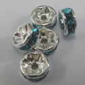 Turquoise blue 8mm silver col rondelles.