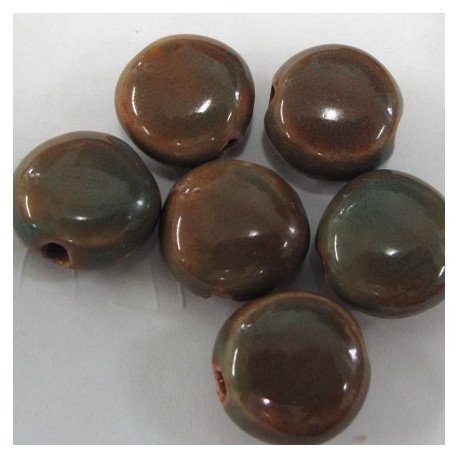 PC0021 - Porcelain brown coin beads. Pack of 7