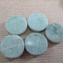 Green marble coin beads. Pack of 7