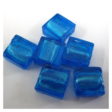 GB6049 - Silver lined square flat beads. Pack of 10