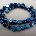 Grey glass coins beads, per strand