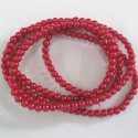 4mm red glass pearls. Long strand