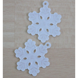 Plastic, white, frosted snowflake pendant, pack of 10.