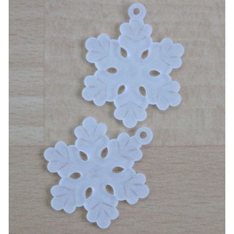SALE147 - Plastic, White, Frosted Snowflake Pendant, Pack of 10.