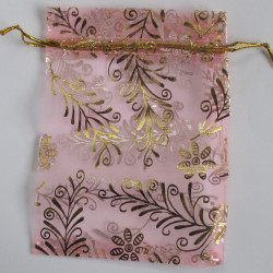 BG1023 - Organza Bag, Pink, Embossed with a Gold Coloured Floral Design.