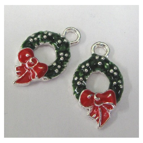 SALE159 - Christmas Wreath Charm. Pack of 2