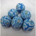 Blue polymer clay beads. Pack of 10