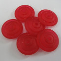 Red plastic disc beads. Pack of 10