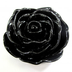 Large rose bead, black