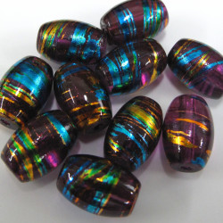 GB1866 - Aubergine oval glass beads. Pack of 10