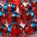 Red glass oval beads. Pack of 15