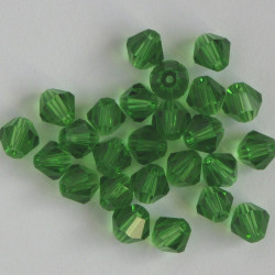 6mm crystal bi-cone, light green, pack of 25.