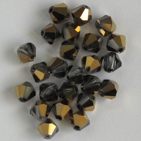 CR6637 - 6mm Crystal Bicone, Half Coated Gold, Pack of 25.