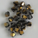 6mm crystal bi-cone, half coated gold, pack of 25.