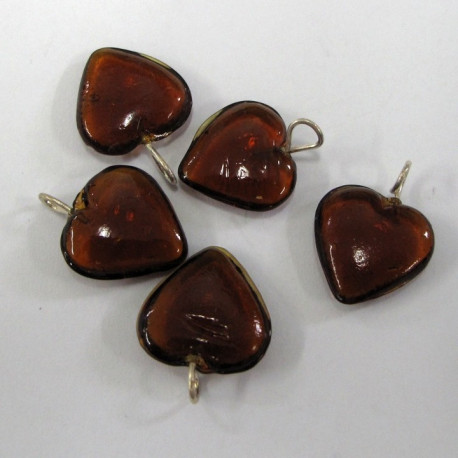GB6080 - Glass hearts with loop. Pack of 10