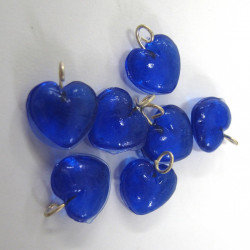 Blue glass heart with loop. Pack of 10