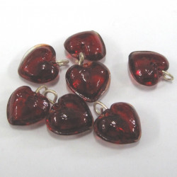 Red glass hearts with loop. Pack of 10