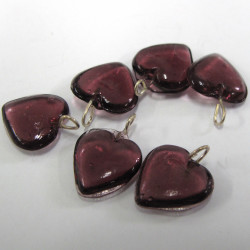 Aubergine purple glass heart with loop. Pk of 10