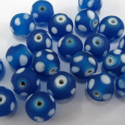 Frosted blue spotty glass beads. 1 strand