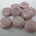 Pink and silver coin bead. Per strand.