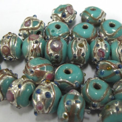 GB6020 - Turquoise wedding cake beads. Per strand