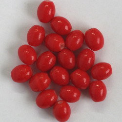 Red glass oval bead, per strand.