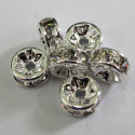 8mm diamonte rondelle. Clear crystal. Pack of 6