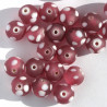 GB6093 - Pink Frosted Glass Spotty Beads. Per Strand.