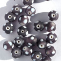 Purple frosted glass spotty beads. Per strand.