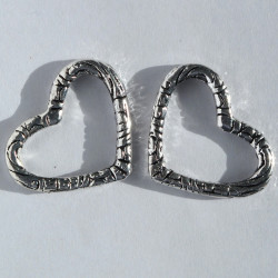 Large, open, embossed heart shaped bead, pack of 2.