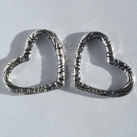 F8621 - Large, Open, Embossed Heart Shaped Bead, Pack of 2.