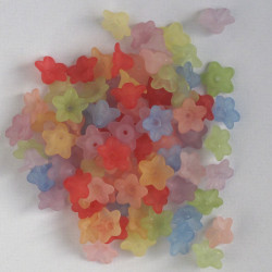 LC01MX - Small, Mixed Colours, Lucite Flowers. 10g Packs.