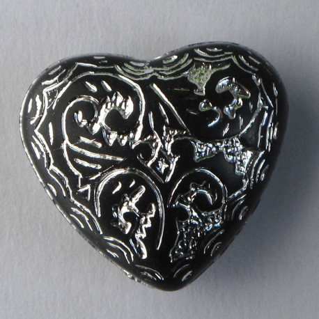 AC4775 - Large, Black Acrylic Heart Shaped Bead With Silver Inlay, Pack of 6.