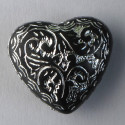 Large, black acrylic heart shaped bead with silver inlay, pack of 6.