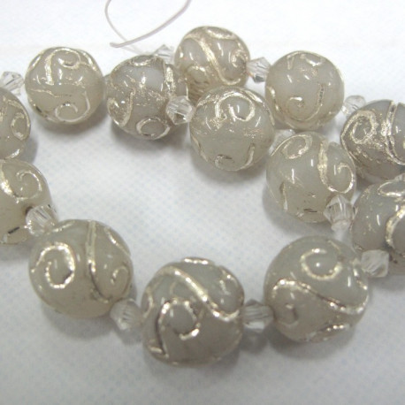 GB6134 - Silvered white Indian glass strand.