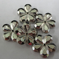 Silvered plastic flowers. Pack of 10