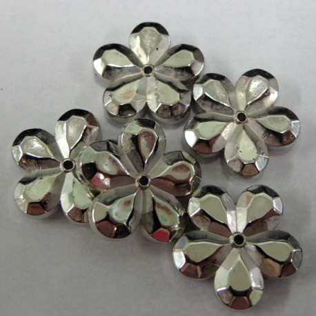 AC6029 - Silvered plastic flowers. Pack of 10