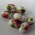 Floral oval porcelain beads. Pack of 10
