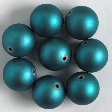 SR086 - Soft Touch Acrylic Beads, 18mm, Teal, Pack of 8.