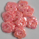 Pink AB flower beads. Pack of 10.