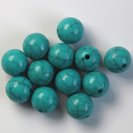 PB2560 - 14mm Marbled Effect, Plastic Beads, Light Turquoise.