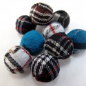 Pack of 10 mixed fabric covered beads.