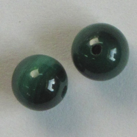LA54 - 6mm Half Drilled Malachite Beads, Pack of 2.